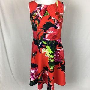Dress Barn, red print dress, size 12